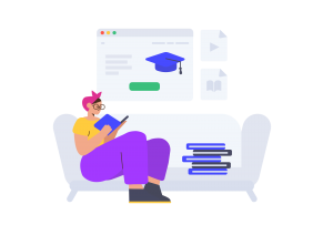illustration of a woman studying online